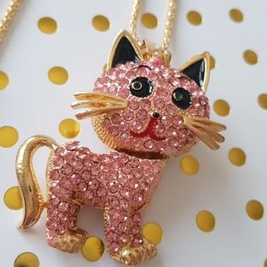 NEW BJ Necklace Cat Crystal Pendant C…